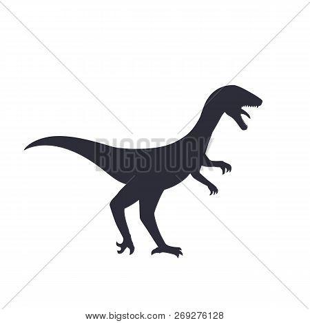 Dinosaur Silhouette Isolated On White, Velociraptor, Eps 10 File, Easy To Edit