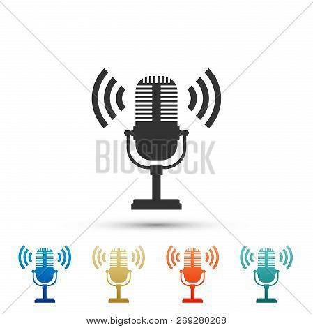 Microphone Icon Isolated On White Background. On Air Radio Mic Microphone. Speaker Sign. Set Element