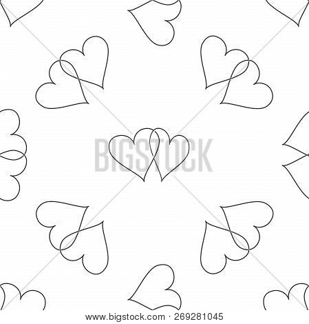 Two Linked Hearts Icon Seamless Pattern On White Background. Heart Two Love Sign. Romantic Symbol Li