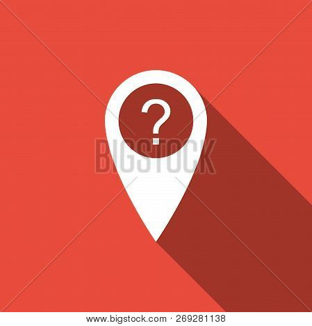 Map Pointer With Question Symbol Icon Isolated With Long Shadow. Marker Location Sign. For Location