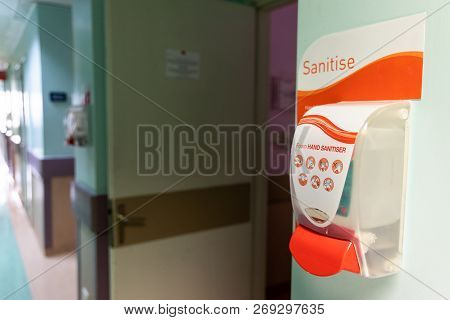 Public Hand Disinfectant Sanitizer Dispenser Available In Hospital For Hygiene