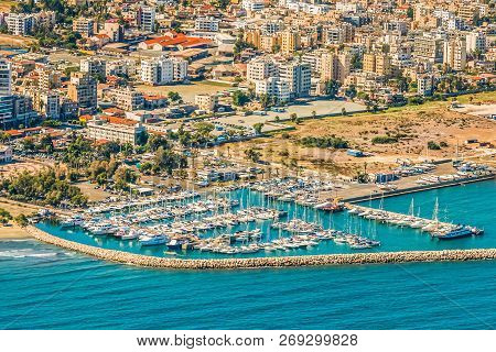 Sea Port City Of Larnaca, Cyprus. View From The Aircraft To The Coastline, Beaches, Seaport And The