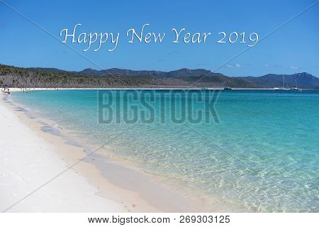 Happy New Year 2019 Caption Text.  Leisure Boats And Tourists Enjoying The Blue Water Of Whitehaven