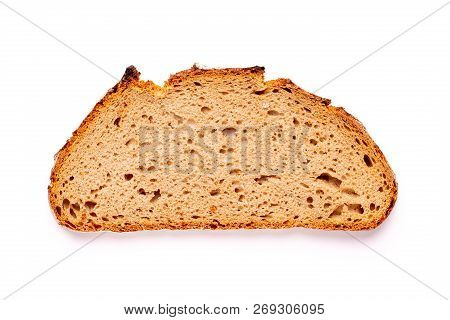 One Single Slice Of Bread Isolated On White Background, Top View Directly From Above.