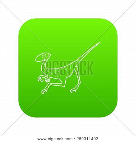 Velociraptor Icon Green Vector Isolated On White Background