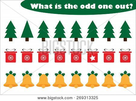 What Is The Odd One Out For Children, Christmas Theme In Cartoon Style, Fun Education Game For Kids,