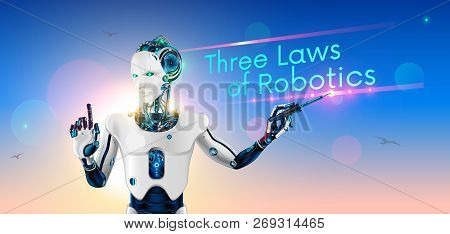 Robot-lecturer Or Cyborg Teacher With A Pointer At The School Board. Humanoid Android With Artificia