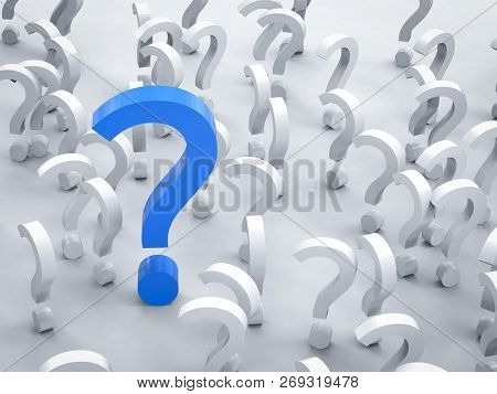 3d Rendering Blue Question Mark With White Question Marks On White Background
