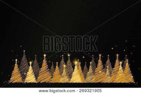 Merry Christmas. Happy New Year. Luxury Gold Christmas Tree With Stars And Sparkles Background