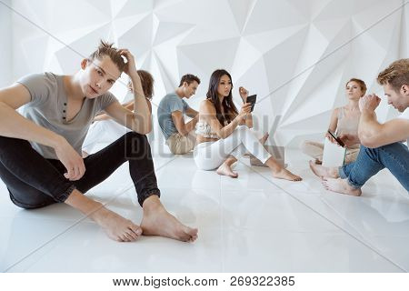 Problem Of Communication Concept. Groups Of Different People Sitting Randomly And Ignoring Each Othe