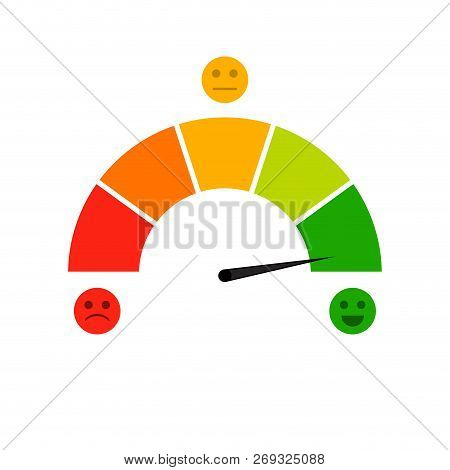 Credit score indicator isolated on white background. Vector accuracy and gauge indicator, arrow score for credit rating level illustration poster