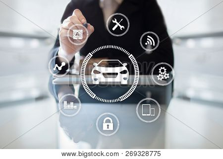 Intelligent Car, Ai Vehicle, Smart Card. Symbol Of The Car And Icon. Modern Wireless Communication A