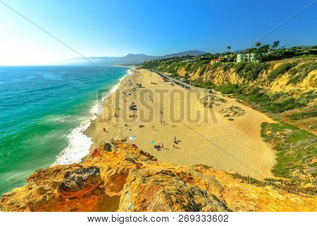 Aerial View Of Panoramic Point Dume State Beach From Point Dume Promontory On Malibu Coast, Pacific