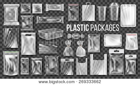 Plastic Packages Transparent Wrap Set Vector. Empty Food Product Polyethylene Package Mock Up Templa