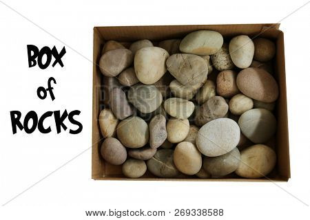 Box of Rocks. Bad Boys and Girls get a Box of Rocks for Christmas. Isolated on white. Room for text. Round River Rocks in a Cardboard Box on a white background. Dumber than a Box of Rocks.