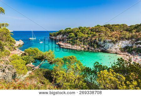 Beautiful View Of Idyllic Bay Beach Cala Llombards, Mallorca Island, Spain