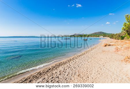 Beautiful Beach Cala Sa Marjal, Es Ribells At The Seaside Of Son Servera On Majorca Island, Spain