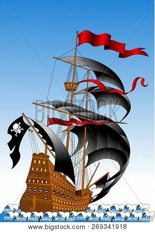 Pirate Galleon With Black Sails And Guns, Vector And Illustration