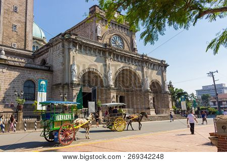 Manila, Philippines - September 24,2018: Minor Basilica And Metropolitan Cathedral Of The Immaculate