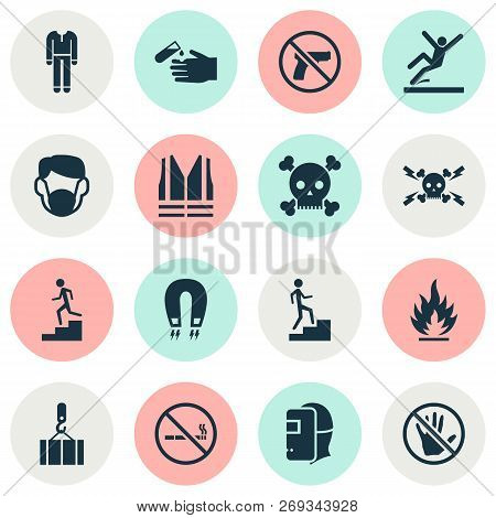 Safety Icons Set With Corrosive Chemical, Welder, Forbidden And Other Lifesaver Elements. Isolated V