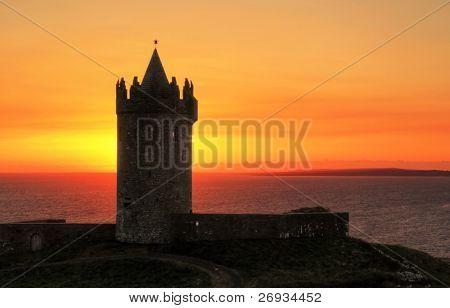 Doolin castle at sunset - Ireland