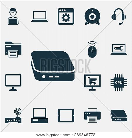 Gadget Icons Set With Software, Printer, Cpu And Other Monitor Elements. Isolated Vector Illustratio