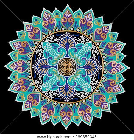 Drawing Of A Floral Mandala In Gold, Black, Turquoise And Violet Colors On A Black Background. Hand