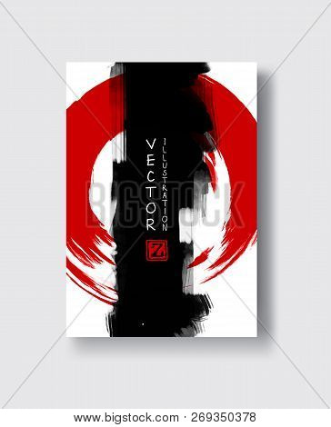 Red And Black Abstract Background With Ink Splats. Japanese Style Composition. Aggressive Futuristic