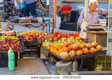 Tirana, Albania- 01 July 2014: Stands With Local Fruits And Dairy On The Street Of Tirana. Tirana Is