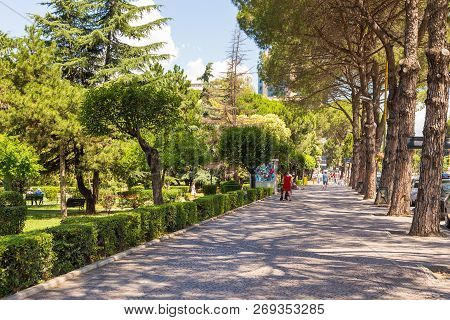 Tirana, Albania- 01 July 2014: Avenue Of New Tirana Town In Beautiful Sunny Day. Tirana Is The Capit