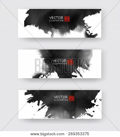 Banners With Abstract Black Ink Element Wash Painting Element In East Asian Style. Traditional Japan
