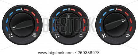 Car Dashboard Knob Switch Set. Auto Air Conditioner. Temperature Selectors. Vector 3d Illustration I