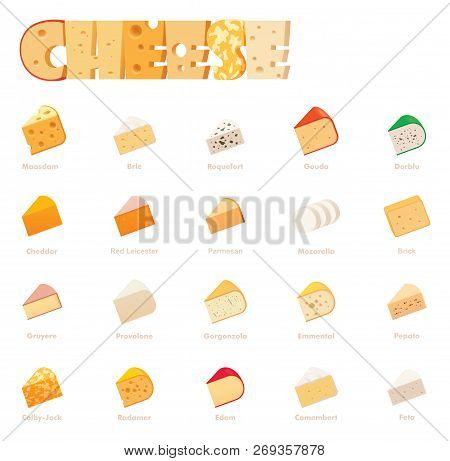 Vector Cheese Types Icon Set. Includes Various Cheese Types - Maasdam, Brie, Gouda, Mozzarella, Swis