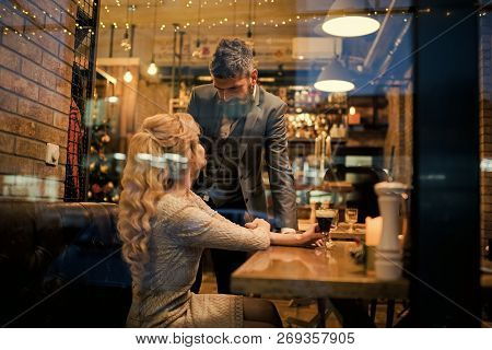 Couple In Love Meet At Restaurant. Valentines Day With Sexy Woman And Bearded Man. Meet, Proposal An