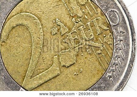 Two euro coin macro on white background
