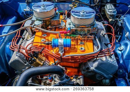 Engine compartment of a muscle American car