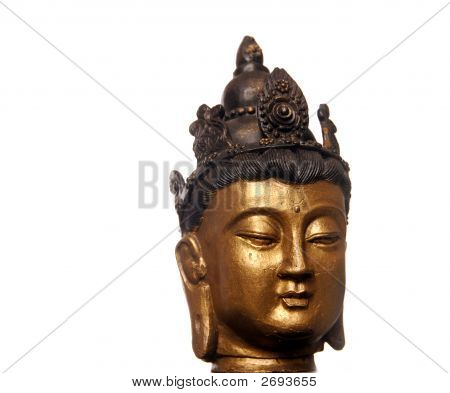 Golden Budha Buddha Head Isolated On White Background