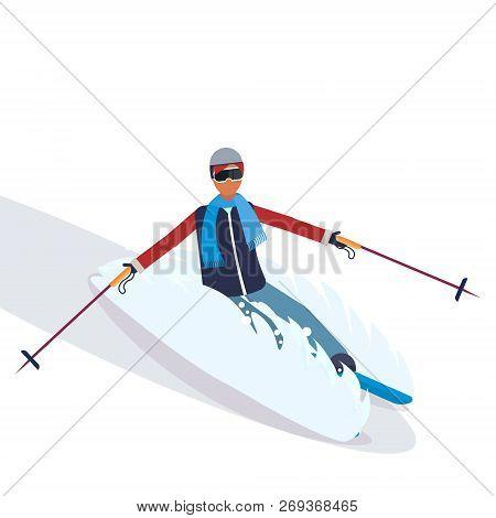 Man Skiing Fresh Powder Sport Activities Guy Wearing Goggles Ski Suit Male Carton Character Sportswo