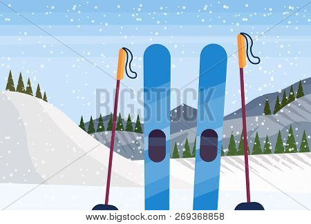 Skiing Equipment Winter Snowy Mountain Fir Tree Forest Landscape Background Ski Resort Horizontal Fl