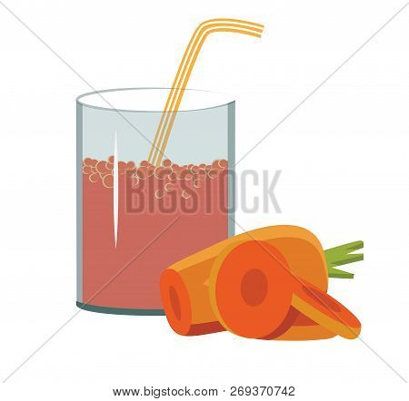Fresh Carrot With A Straw Vector Illustration It Is Maybe Used For Any Professional Project