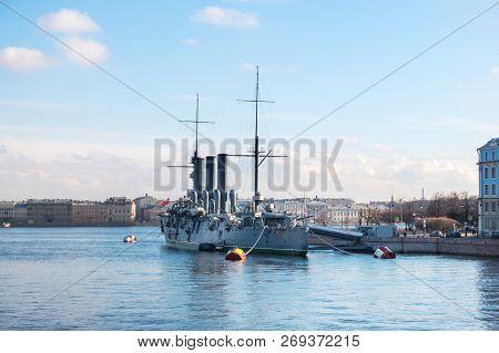 Aurora cruiser, the battleship marked the beginning of Great October Communist Revolution in 1917. Saint-Petersburg, Russia. poster