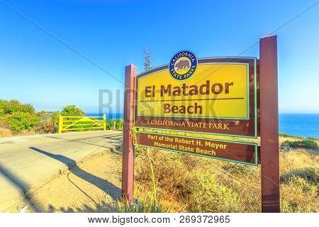 Malibu, California, United States - August 7, 2018: El Matador Beach Entrance Sign A Popular Beach I