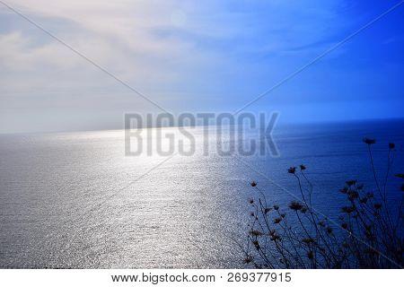 Sparkling Calm Blue Mediterranean Background, From High Coast With Wide Views Over The Mediterranean