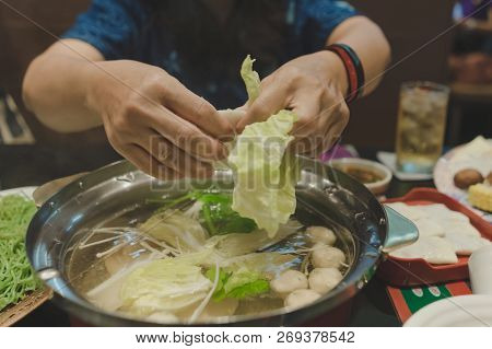 Sport Women Eats Suki Yaki After Exercise