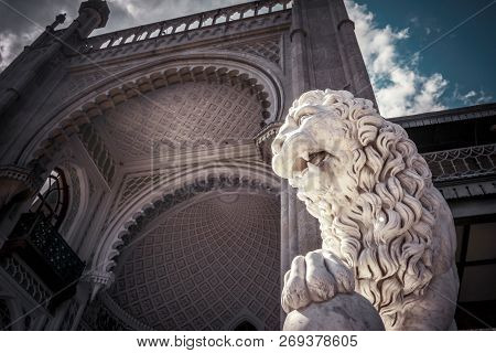 Alupka, Crimea - May 20, 2016: Lion Statue At The Vorontsov Palace In Crimea, Russia. This Palace Is
