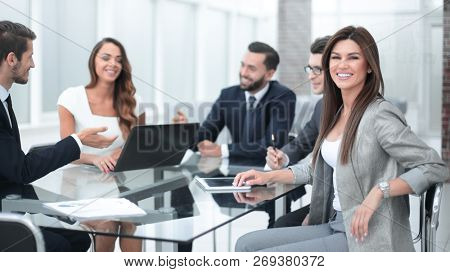 business team discusses new ideas at a business meeting