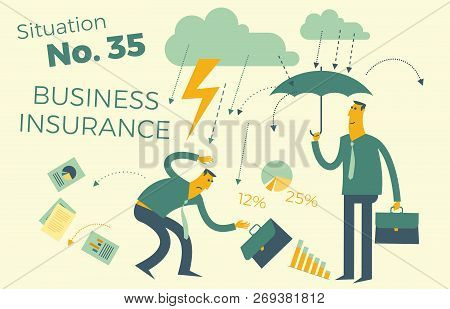 Business Infographics With Illustrations Of Business Situations. Insurance Services, Insurance, Prot