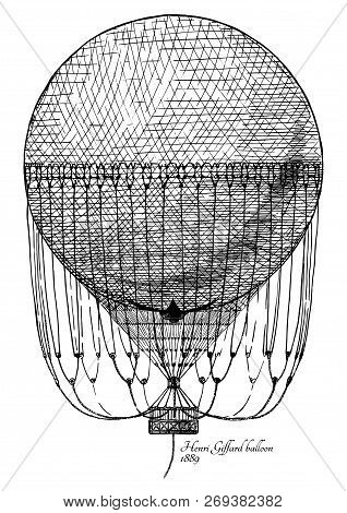 Vector hand drawn illustration of Henri Giffard balloon in vintage engraved style. Isolated on white background. poster