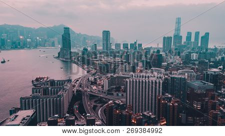 Aerial Shot From Flying Drone Beautiful Cityscape Of Hong Kong Skyline