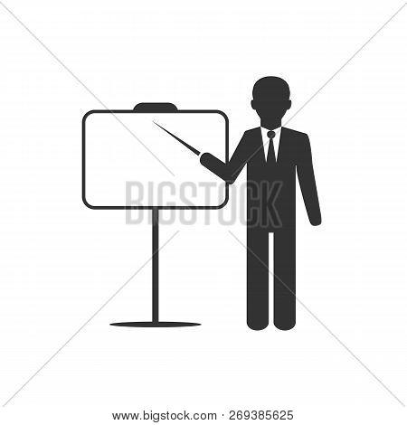 Busines Flip Chart Icon. Vector Illustration, Flat Design.